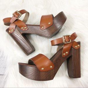 MOSSIMO Chunky Platform Brown Leather Heel